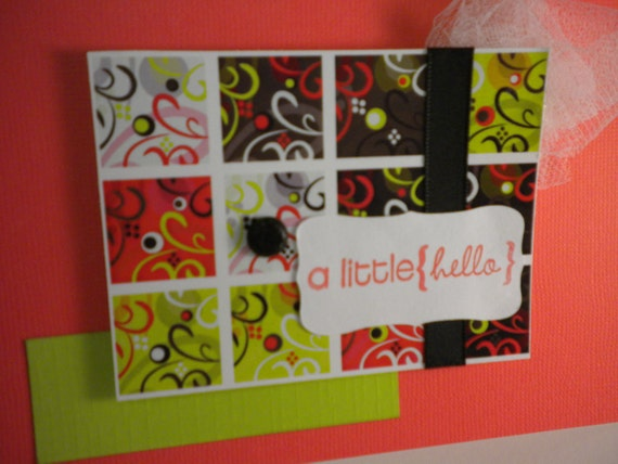 ON SALE a little hello note cards -  pinky red, black, white, lime green