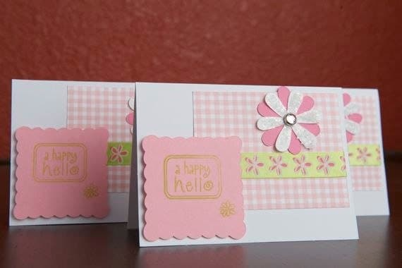 ON SALE Set of 3 Pink and Green Happy Hello note cards