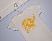 Elephant Applique Onesie - Yellow