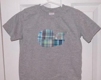 Whale Applique Toddler T-shirt - Plaid