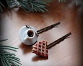 Coffee & Pie Hair Pins with Lattice Crust Pie (Set of Two)