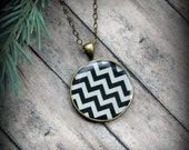 Antique Brass Chevron Necklace