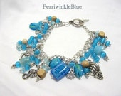 Charm Bracelet, Turquoise Blue Lampworked Beads, Wood and Silver , Beach Walk
