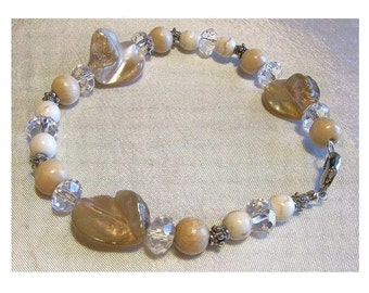 Natural Mother of Pearl and  White Turquoise Gemstone Bracelet