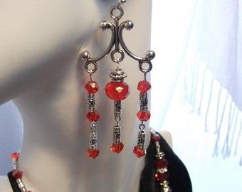 Veronica Old World Renaissance Chandelier Earrings, Swarovski Crystals and Carved Silver