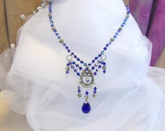 Cobalt with Lilac Sheen  Set,  OOAK Necklace and Earrings, Swarovski Crystals and Silver Filigree, Colleen at the Opera