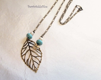 Peaceful Leaf in Bronze and Turquoise Long Necklace