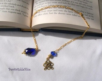 Bookmark Chain, Gina with Cobalt Blue and Gold