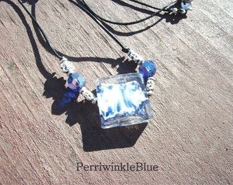 Black Leather and Square Lampworked Glass and Beads Necklace, White and Blue, Sail Away