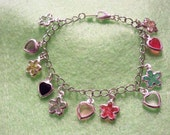 hearts and flowers charm bracelet