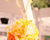 The Best is Yet to Come, Yellow Assortment Flower balls with Pearl tie, yellow bow and wired twine embellishment