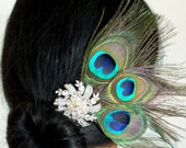 Peacock Radiance - Vintage Silver Rhinestone and Peacock Feather  Hair Comb Brooch