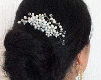 Evensong - Freshwater Pearl Rhinestone Bridal Hair Comb