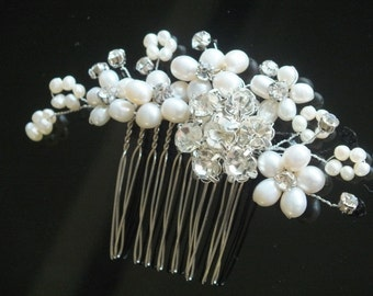 Feary Wisps - Freshwater Pearl and Rhinestone Bridal Comb
