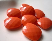 Orange Faceted Rectangle Beads qty 8