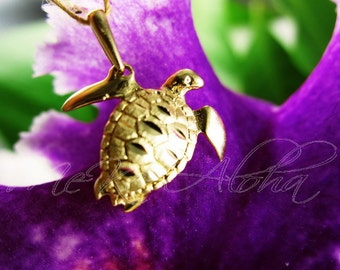 17mm Puffy Belly, Sea Turtle Pendant-14k Gold, Satin Finish