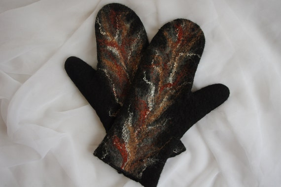 Felted Mittens - Black Gray Brown