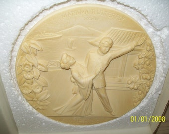 Italy Collector Plate Ivory Alabaster Madama Butterfly 1977 Limited Edition