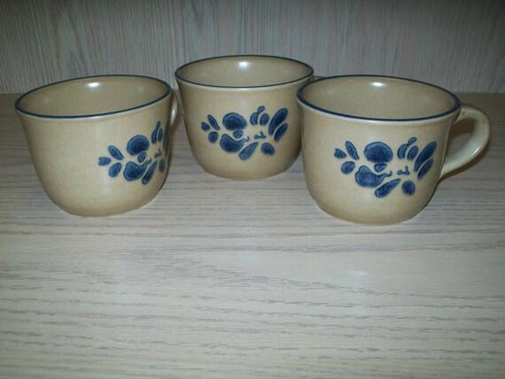 Pfaltzgraff Folk Art Design Coffee Mugs Cups Only Qty 3