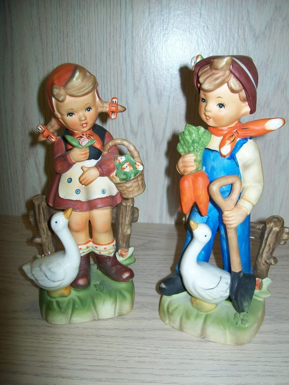 "Erich Stauffer Figurines Boy Gardening & Girl Flower Basket wity Goose 9"" Tall"