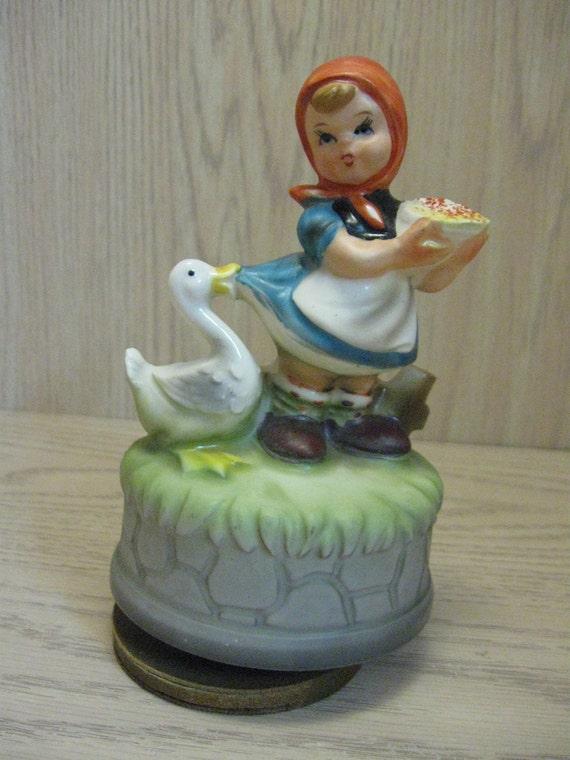 Himark Music Box Little Girl Feeding Goose Figurine Song Love Story