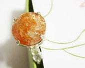SUMMER SALE - Natural Sunstone Ring - Size 7 - CobbledStone