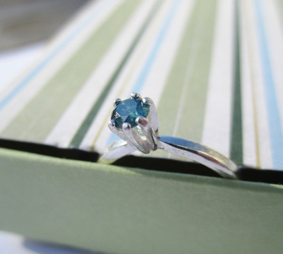 SALE - Blue Diamond and Sterling Silver Ring - Size 5