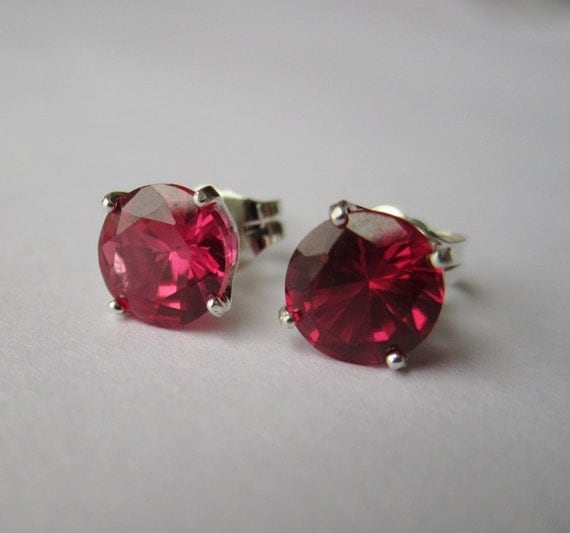 RESERVED FOR JENNY - Created Ruby Earrings - CobbledStone