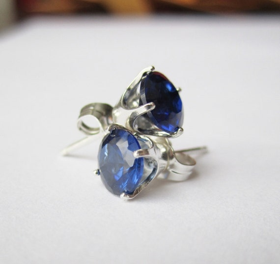SALE - Created Blue Sapphire Earrings - CobbledStone