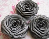 3 handmade roses ribbon flowers in dark grey