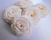 5 handmade roses satin ribbon flowers in ivory