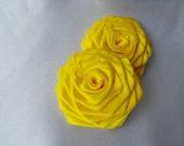 2 handmade roses ribbon flowers in yellow