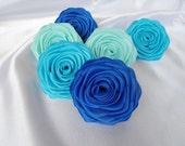 6  handmade roses satin ribbon flowers in aqua blue, turquoise & royal blue