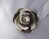 1 handmade roses camoflage effect military ribbon flowers in three tones --- dark olive green, brown and beige
