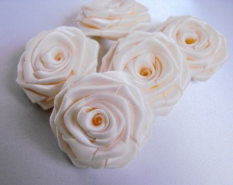 5 handmade roses satin ribbon flowers in ivory