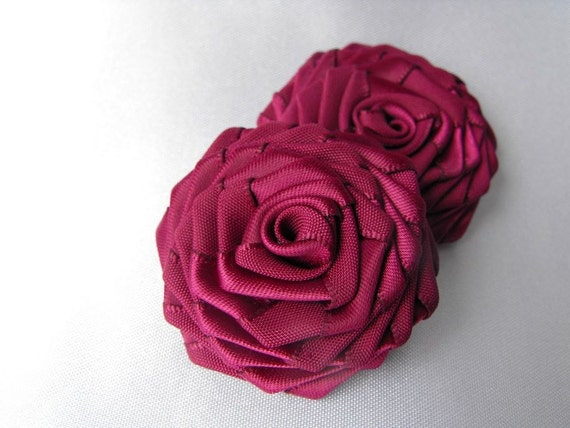 2 handmade roses ribbon flowers in wine (burgundy)