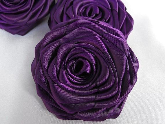 3 handmade roses ribbon flowers in eggplant ( Dark purple )
