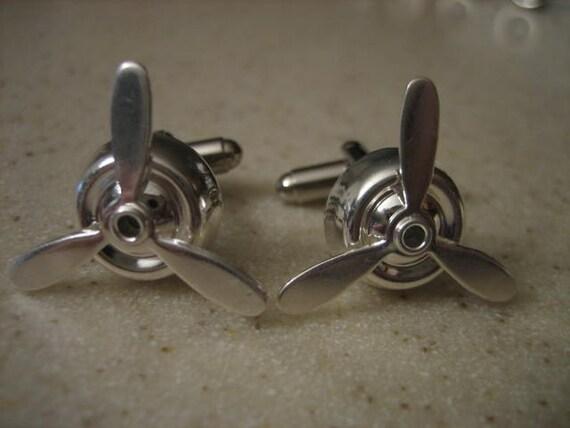 Bright Sterling Silver Airplane Propeller Cufflinks