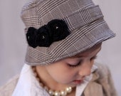 Grey and Black Flowered Hat with Silver Bead Detail