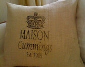 """Burlap Pillow Cover - Personalized Name and Date 20"""" x 20"""""""