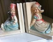Vintage Nursery Book-ends - Chalkware Dutch Boy and Girl