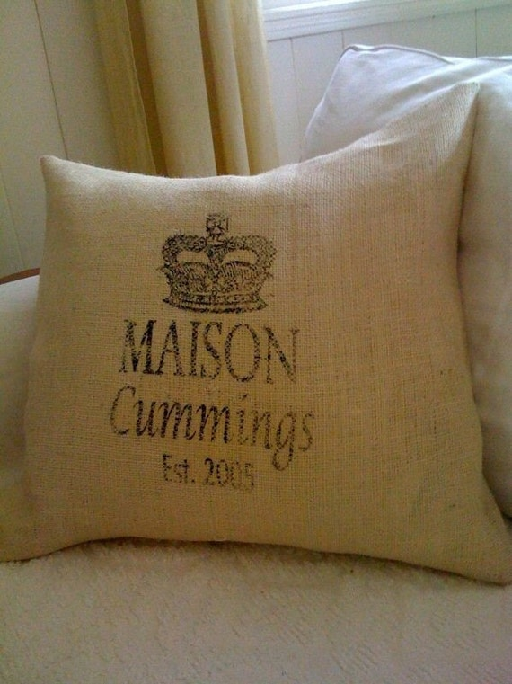 "Burlap Pillow Cover - Personalized Name and Date 20"" x 20"""