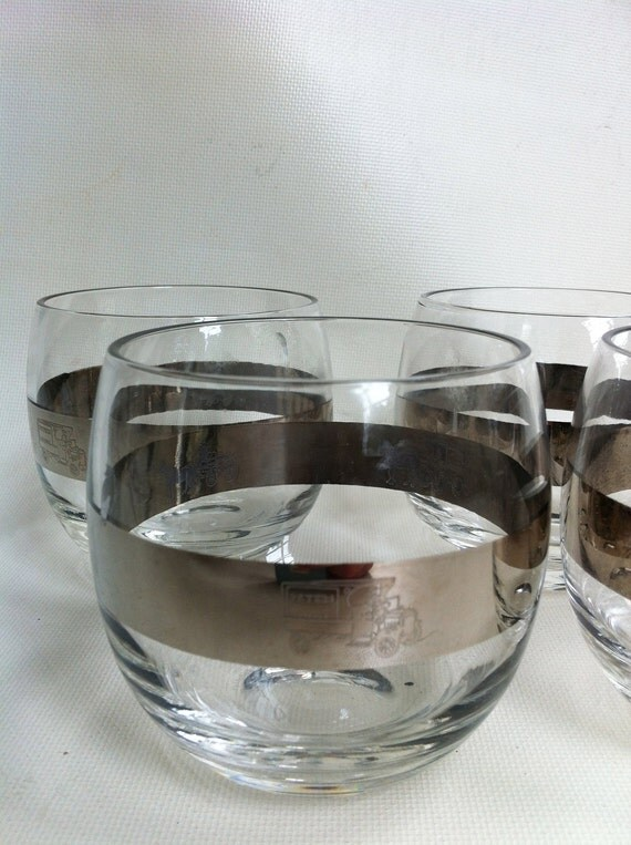 Silver Band Roly Poly Glasses - Unique Etched Glass