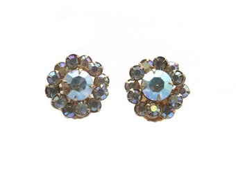 Vintage Clear AB Rhinestone Button Earrings