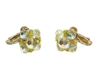 Vintage Vendome Yellow AB Crystal Cluster Earrings