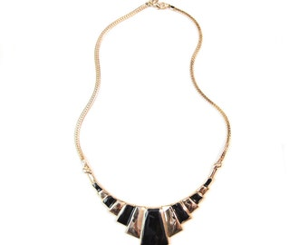 Vintage 80s Park Lane Gold and Black Modernist Necklace