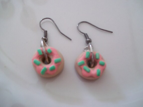 Pink Iced Polymer  Mini Doughnuts Foodie Earrings
