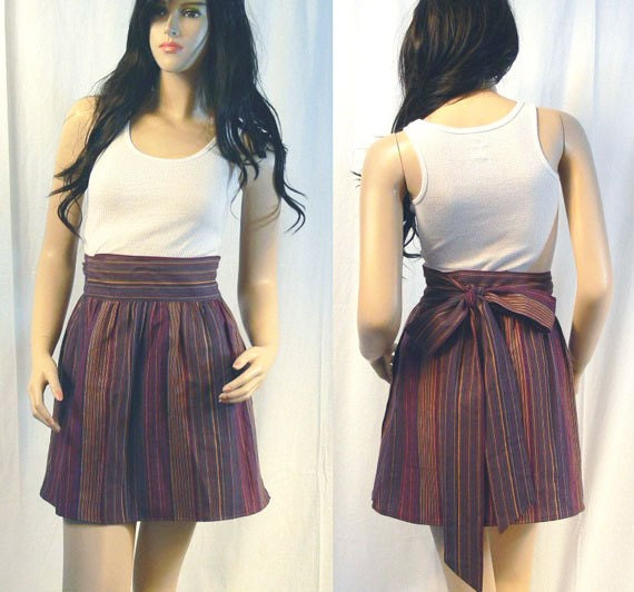 vintage 1980s upcycled striped wrap tie pocket mini skirt xs s