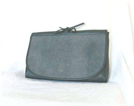 Vintage 80s Clutch Purse Suede Gray Envelope Snakeskin Leather