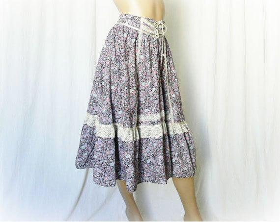 Vintage 70s Gunne Sax Skirt M Calico Floral Prairie Ruffled Lace